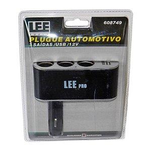 Tomada Automotiva 3 Saídas + 1 USB Plugue 12V