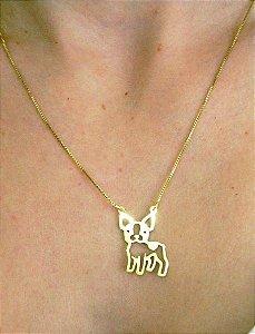 Coleção Pet - Colar Bulldog Francês -  Banho ouro amarelo