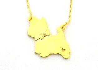 Coleção Pet - West Highland White Terrier banho ouro amarelo