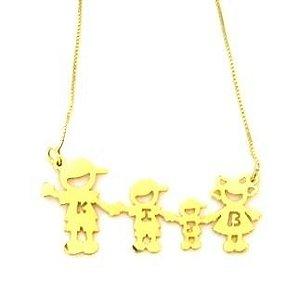 Colar Família - Banho ouro Amarelo -Personalizada