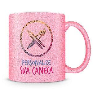 Caneca Personalizada do seu Jeito Glitter Rosa