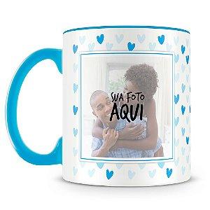 Caneca Personalizada Corações - Azul (2 Fotos)