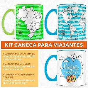 Kit Canecas para Quem Ama Viajar (3 Canecas)