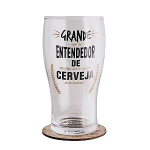 Copo Pilsen com Porta Copos Entendedor de Cerveja