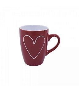 Caneca de Porcelana Coração Vermelho