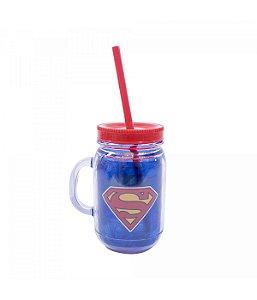 Caneca com Tampa e Canudo Super Homem - Liga da Justiça