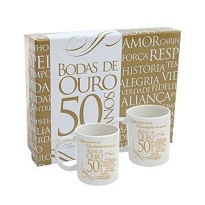 Caneca de Porcelana Bodas de Ouro (Kit)