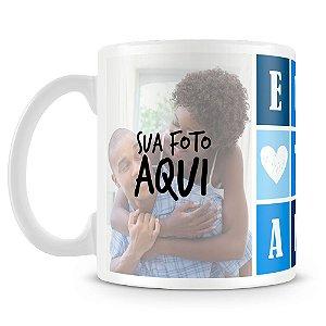 Caneca Personalizada Eu Te Amo - Azul (2 Fotos)