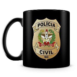 Caneca Personalizada Polícia Civil de Santa Catarina 100% Preta (Com Nome)