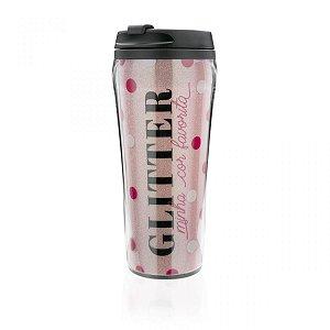 Copo para Viagem Glitter Amo Make Rosa