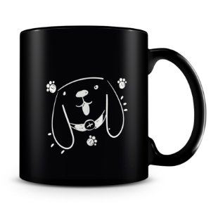 Caneca Personalizada Trabalho Duro Pelo Meu Cachorro (100% Preta)