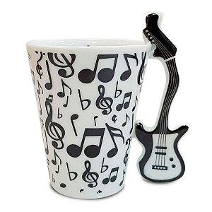 Caneca Porcelana Alça Guitarra