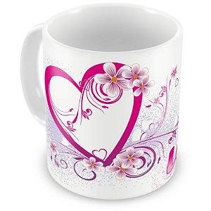 Caneca Personalizada Coração e Flores