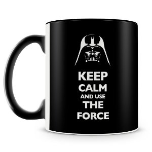 Caneca Personalizada Darth Vader Keep Calm and use The Force (Preta)