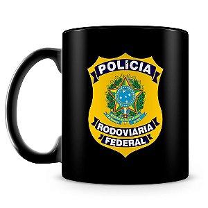 Caneca Personalizada Polícia Rodoviária Federal 100% Preta (Com Nome)