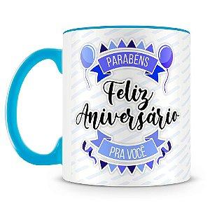 Caneca Personalizada Aniversário - Azul (Foto e Nome)