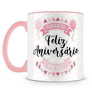 Caneca Personalizada Aniversário - Rosa (Foto e Nome)