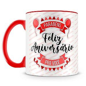 Caneca Personalizada Aniversário - Vermelha (Foto e Nome)