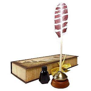 Réplica Oficial Estojo com caneta pena tinteiro - Hogwarts writing quill