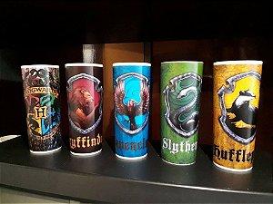 Conjunto com 5 Copos em Acrílico Harry Potter Casas de Hogwarts