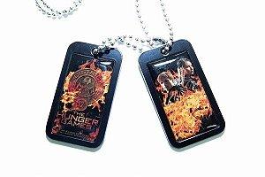 Colar com Placa tipo exercito Peeta e Katniss