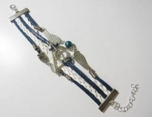 Pulseira Pomo, Relíquias da Morte e Coruja (Branca e Azul com bola azul)