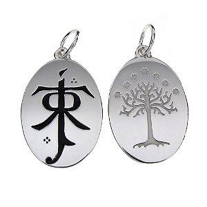 Pingente Folheado a Prata - JRR Tolkien / Árvore de Gondor - Dupla Face que brilha no escuro