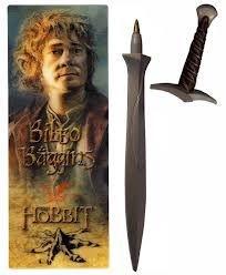 Caneta Espada do Hobbit Bilbo o Bolseiro acompanha marcador de livro