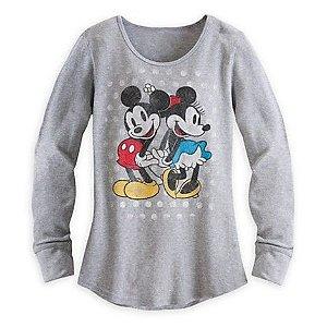 Camiseta manga Longa Vintage Mickey e Minnie