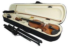 Kit Violino 3/4 Case Arco Espaleira Partitura Breu