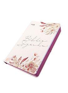 Biblia Sagrada Floral Creme NVI Capa Flexível 21cm