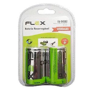 Pilha Recarregável Flex FX-D45B2 1,2V 4500mAH Tipo D Grande