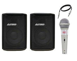 Caixa Ativa Datrel AT10200 Passiva SL200 200W Cabo Microfone