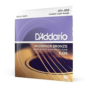 Encordoamento Violão Aço .011 D Addario Phosphor Bronze EJ26