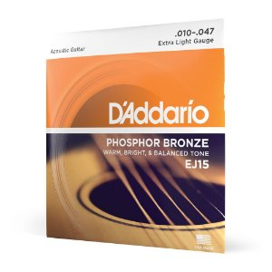 Encordoamento Violão Aço .010 D Addario Phosphor Bronze EJ15