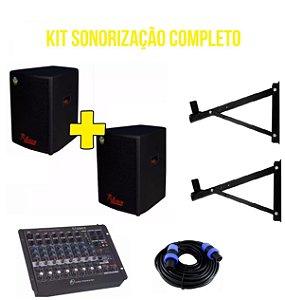 Kit Caixa Ativa + Passiva Leacs 480w Mesa De Som Suporte Cabo