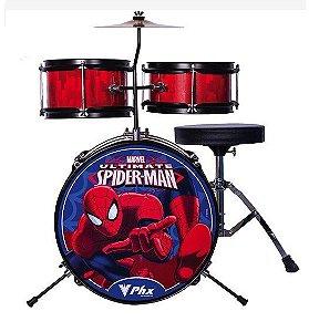 Bateria Phx Marvel Spider Man Infantil 3 Peças Bim-s2