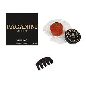 Kit Acessórios Violino Encordoamento Paganini Breu Surdina