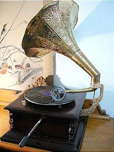 Gramofone Vitrola A Corda Com Caixa Para Decoração Vintage