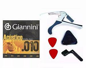 Kit Corda Giannini Aço 0.10 Capotraste Encordoador Palhetas