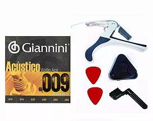 Kit Corda Giannini Aço 0.09 Capotraste Encordoador Palhetas