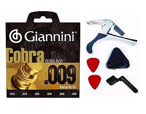 Corda Giannini Aço Cobra 009 Capo Palheta Encordoador Porta