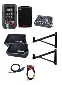 "Kit Igreja Caixa Leacs Ativo Passivo 480W Monitor Datrel Ativo Passivo 10"" Mesa 6c LL Audio FX602 Suporte Cabos"