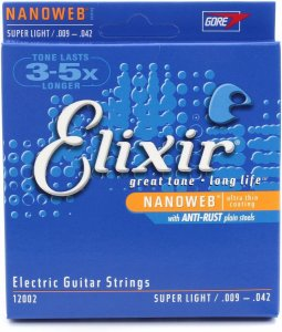 Encordoamento Elixir Para Guitarra Nanoweb 009 Light Leve
