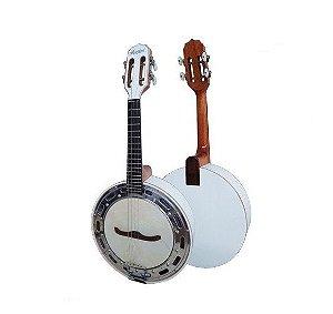 Kit Banjo Rozini Branco Elétrico Cápsula Leson Capa Palheta