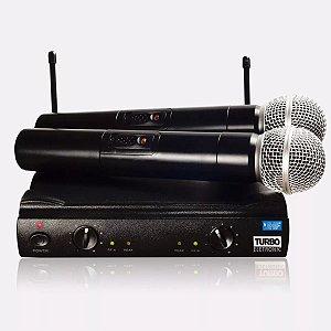 Microfone Sem Fio Duplo de Mão Turbo UHF TE-58 Profissional
