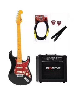 Kit Guitarra Tagima Tg530 Preto BK + Cabo P10 + Caixa G30