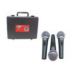 Kit 3 Microfones Profissionais Btm58a Cachimbo Maleta