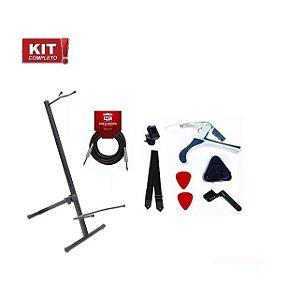 Kit Suporte Violão Chão Encordoador Cabo Afinador Palheta