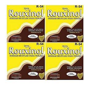 Kit 4 Encordoamento Violão Nylon Rouxinol R54 Tensão Alta